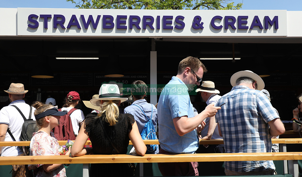The strawberries and cream stand on day two of the Wimbledon Championships at the All England Lawn Tennis and Croquet Club, Wimbledon.