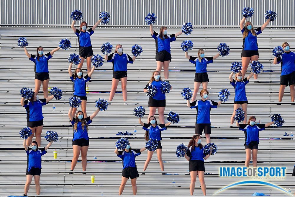 """Middle Tennessee Blue Raiders dance team members practice social distancing as they perform during the second half against the Troy Trojans at Johnny """"Red"""" Floyd Stadium in Murfreesboro, Tenn., Saturday, Sept. 19, 2020. (Jim Brown/Image of Sport)"""