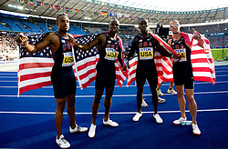 Team of United States (Angelo Taylor, Kerron Clement, LaShawn Merritt and Jeremy Wariner)  celebrates winning the gold medal in the men's 4x400 Metres Relay Final during day nine of the 12th IAAF World Athletics Championships at the Olympic Stadium on August 23, 2009 in Berlin, Germany. (Photo by Vid Ponikvar / Sportida)