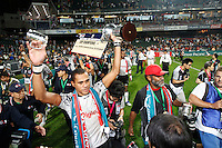 HONG KONG, HONG KONG : Ilani Tinai of Fiji celebrates after defeating Wales 26-19, to defend their Hong Kong Rugby Sevens title in a dramatic way - coming back from a half time deficit of 19-0, is shown in Hong Kong on Sunday, 24 March, 2013.