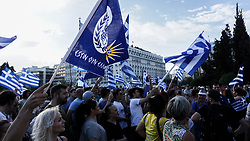 June 15, 2018 - Athens, Greece - People gathered outside Hellenic Parliament during a rally against the agreement Greece and Fyrom..The agreement refers to resolve a 27 year problem over the name of the former Yugoslav republic and the use of the term Macedonia which would lead  in Fyrom being renamed to North Macedonia, (Credit Image: © Ioannis Alexopoulos/SOPA Images via ZUMA Wire)