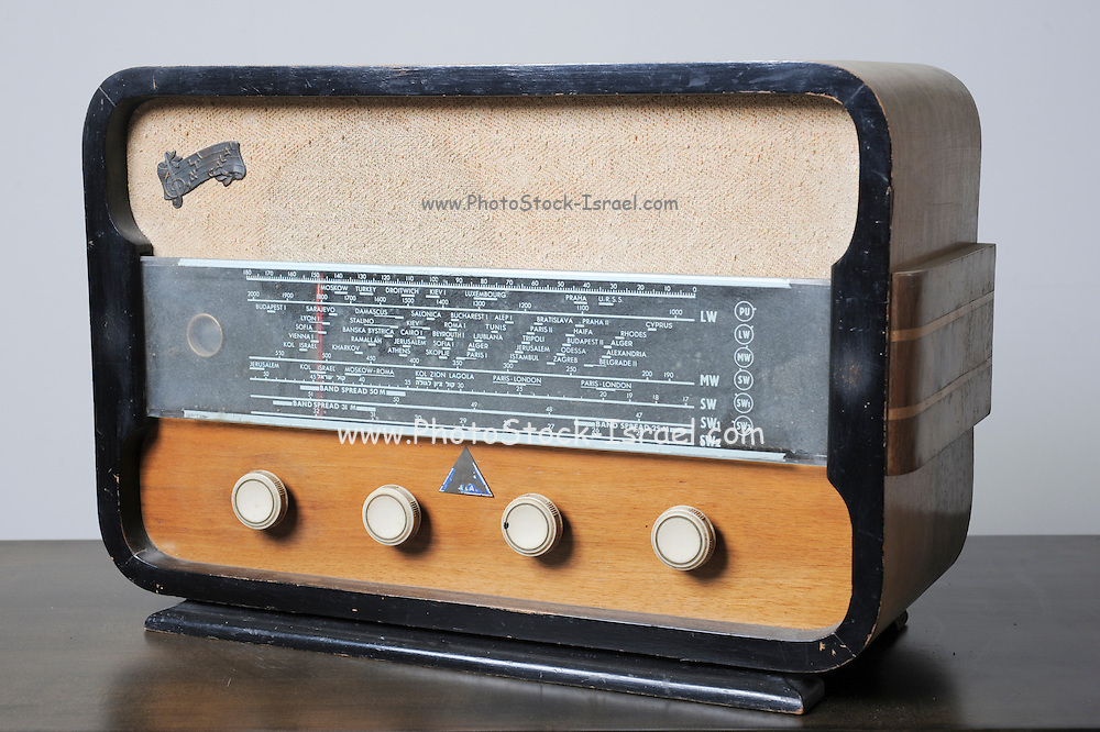 Cutout of an Israeli made Galai radio receiver on white background