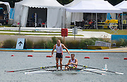 Eton Dorney, Windsor, Great Britain,..2012 London Olympic Regatta, Dorney Lake. Eton Rowing Centre, Berkshire.  Dorney Lake.  ..Men's Lightweight Doubles, medal ceremony, gold Medalist. DEN LM2X, Rasmus QUIST and Mads RASMUSSEN...12:28:22  Saturday  04/08/2012 [Mandatory Credit: Peter Spurrier/Intersport Images]