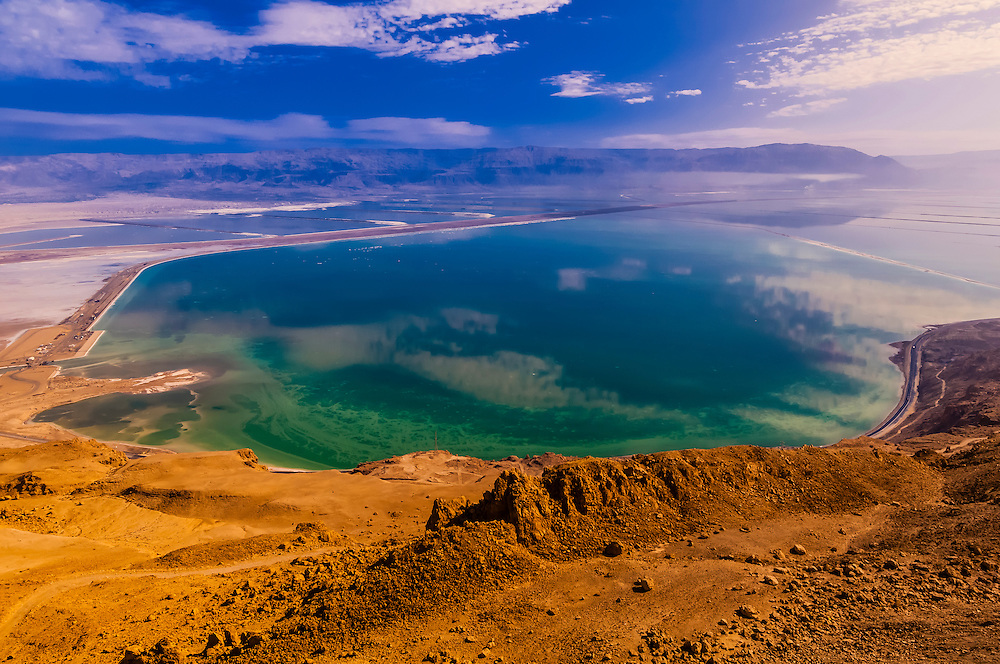 Overview of evaporation ponds, Dead Sea, Israel.
