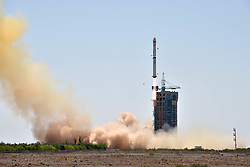 June 15, 2017 - A Long March-4B rocket carrying X-ray space telescope to observe black holes, pulsars and gamma-ray bursts blasts off from Jiuquan Satellite Launch Center in northwest China's Gobi Desert, June 15, 2017.  wsw) (Credit Image: © Zhen Zhe/Xinhua via ZUMA Wire)