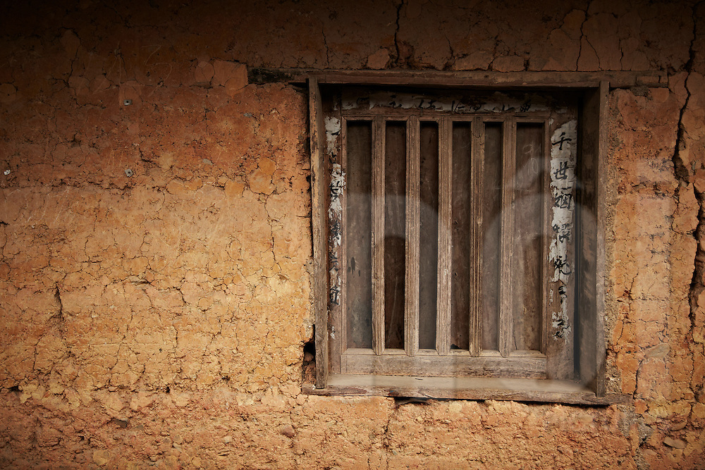 Window detail in Chinese style building. Vietnam, Asia