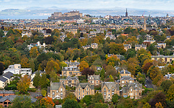 View of large houses in Grange district of Edinburgh, Scotland, Uk