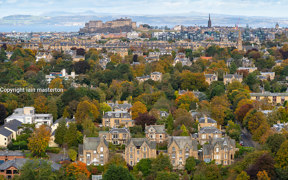 View of large houses in Grange district of Edinburgh, Scotland, Uk