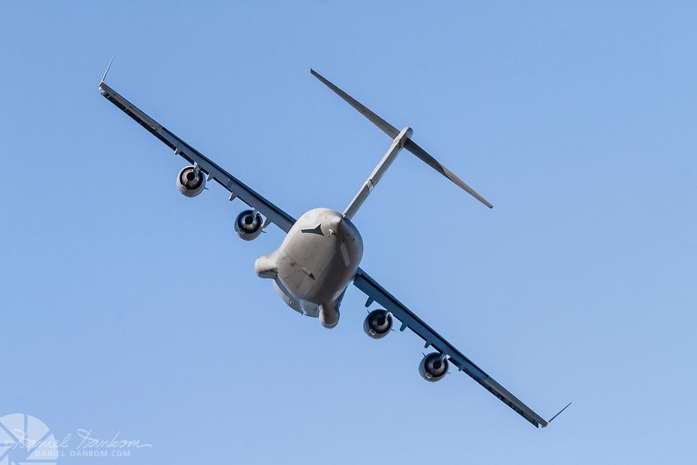 Boeing C-17A Globemaster III, taking of from MRY, Monterey, California