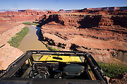A jeep at Thelma and Louise Point, near Island in the Sky District, Canyonlands National Park, Moab, Utah.
