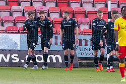 Dunfermline's Kevin Nisbet celebrates after scoring their third goal. Dunfermline 5 v 1 Partick Thistle, Scottish Championship game played 30/11/2019 at Dunfermline's home ground, East End Park.