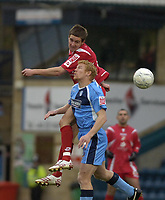 Photo: Matt Bright/Sportsbeat Images.<br /> Wycombe Wanderers v Swindon Town. The FA Cup. 10/11/2007.<br /> Gary Holt of Wycombe Wanderers is beaten to the ball by Barry Corr of Swindon