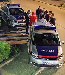 02.09.2016, Kaprun, AUT, Mann feuert in Kaprun mit Schrotflinte vom Balkon, im Bild Polizisten bei der Befragung von Zeugen. Ein offenbar alkoholisierte Mann hat am Freitagabend in Kaprun einen Cobra-Einsatz ausgelöst. Der Mann habe mit einer Schrotflinte immer wieder das Feuer vom Balkon seines Hauses eröffnet, teilte die Landespolizeidirektion Salzburg kurz vor Mitternacht auf APA-Anfrage mit. Dabei habe er zwei Fahrzeuge beschädigt, Menschen seien nicht verletzt worden // the special police force Cobra. 'A man has triggered a Cobra-use in Kaprun, on Friday night. The apparently intoxicated man had open fired with a shotgun repeatedly from the balcony of his home...' Informed the Police Directorate Salzburg, just before midnight. He had damaged two vehicles however no people where injured. EXPA Pictures © 2015, PhotoCredit: EXPA/ JFK