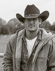 portrait of an All American cowboy outdoors