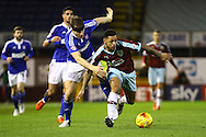 Christophe Berra of Ipswich Town (l) and Andre Gray of Burnley battle for the ball. Skybet football league Championship match, Burnley v Ipswich Town at Turf Moor in Burnley, Lancs on Saturday 2nd January 2016.<br /> pic by Chris Stading, Andrew Orchard sports photography.