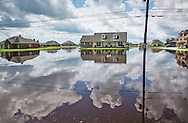 Paulina Louisiana in St. James Parish Aug 20th, flooded by backflow days after the rainstorm,  where many were able to keep the flood water out of their homes with sandbags and pumps  going around the clock.