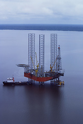 Stock photo of an offshore jack-up drilling rig in Sumatra