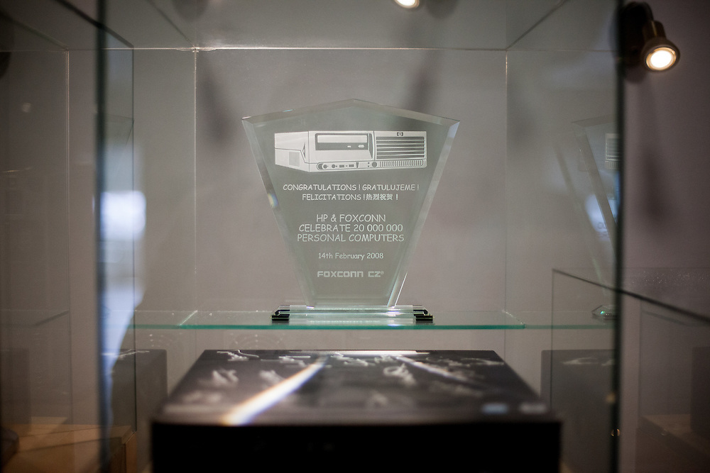 A trophy exhibited in the entrance hall of Foxconn in Pardubice, Czech Republic. Foxconn Technology Group, is a multinational electronics contract manufacturing company headquartered in New Taipei, Taiwan. Foxconn is the world's largest electronics contractor manufacturer, and the third-largest information technology company by revenue.