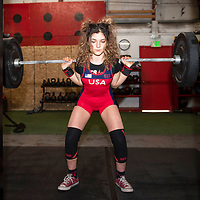 Powerlifter Serena Abweh, 18, training at Wowie's Gym in Gallup with squats, Thursday, May 23. Abweh will compete in the International Powerlifting Federation World Classic Powerlifting Championships in Sweden next month.