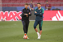 01.06.2019, Wanda Metropolitano, Madrid, ESP, UEFA CL, Tottenham Hotspur vs FC Liverpool, Finale, im Bild Tottenham Hotspur Manager Mauricio Pochettino and Hugo Lloris of Tottenham Hotspur // Tottenham Hotspur Manager Mauricio Pochettino and Hugo Lloris of Tottenham Hotspur during Training before the the UEFA Champions League Final Match between Tottenham Hotspur and FC Liverpool at the Wanda Metropolitano in Madrid, Spain on 2019/06/01. EXPA Pictures © 2019, PhotoCredit: EXPA/ Focus Images/ Paul Chesterton<br /> <br /> *****ATTENTION - for AUT, GER, FRA, ITA, SUI, POL, CRO, SLO only*****