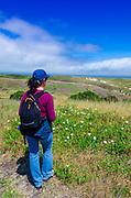 Hiker above Scorpion Canyon, Santa Cruz Island, Channel Islands National Park, California USA