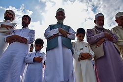June 16, 2018 - Srinagar, Jammu and Kashmir, India - Kashmiri Muslims offer Eid prayers marking the festival of Eid al-Adha at  eidgah in Srinagar summer capital of Indian administered Kashmir..Eid al-Fitr marks the end of the holy month of Ramadan, during which Muslims all over the world fast from Dawn To Dusk. (Credit Image: © Abbas Idrees/SOPA Images via ZUMA Wire)