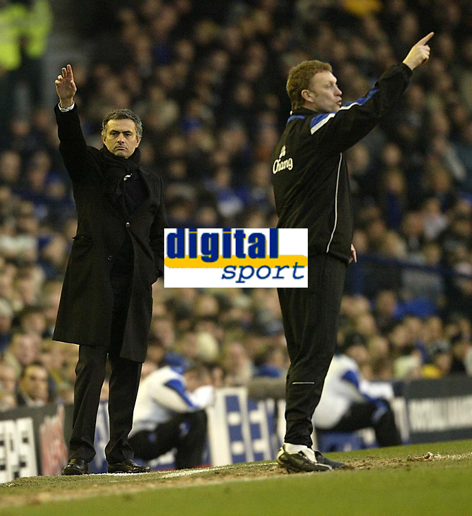 Photo: Aidan Ellis.<br /> Everton v Chelsea. The FA Cup. 28/01/2006.<br /> Jose Mourinho and David Moyes get there instrutions across to there teams