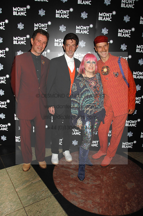 Left to right, MICHAEL DAVIES, DUGGIE FIELDS, ZANDRA RHODES and ANDREW LOGAN at a reception to launch Montblanc's First Fine Jewellery Collection held at The Victoria & Albert Museum, Cromwell Road, London SW7 on 24th April 2007.<br /><br />NON EXCLUSIVE - WORLD RIGHTS
