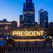 Kansas City Hilton Hotel President, dusk aerial panoramic.