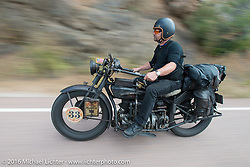 """Andreas """"Andy"""" Kaindl of Southern Germany riding his 1924 Henderson Deluxe during Stage 9 (249 miles) of the Motorcycle Cannonball Cross-Country Endurance Run, which on this day ran from Burlington to Golden, CO., USA. Sunday, September 14, 2014.  Photography ©2014 Michael Lichter."""