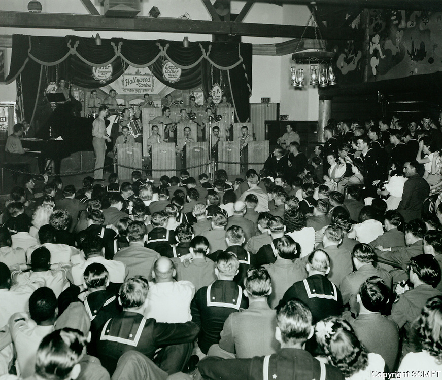 1944 Servicemen being entertained at the Hollywood Canteen