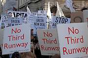 London 06/12/08 : The Campaign for Climate Change March : Placards calling for Heathrow Airport's expansion plans to be scrapped