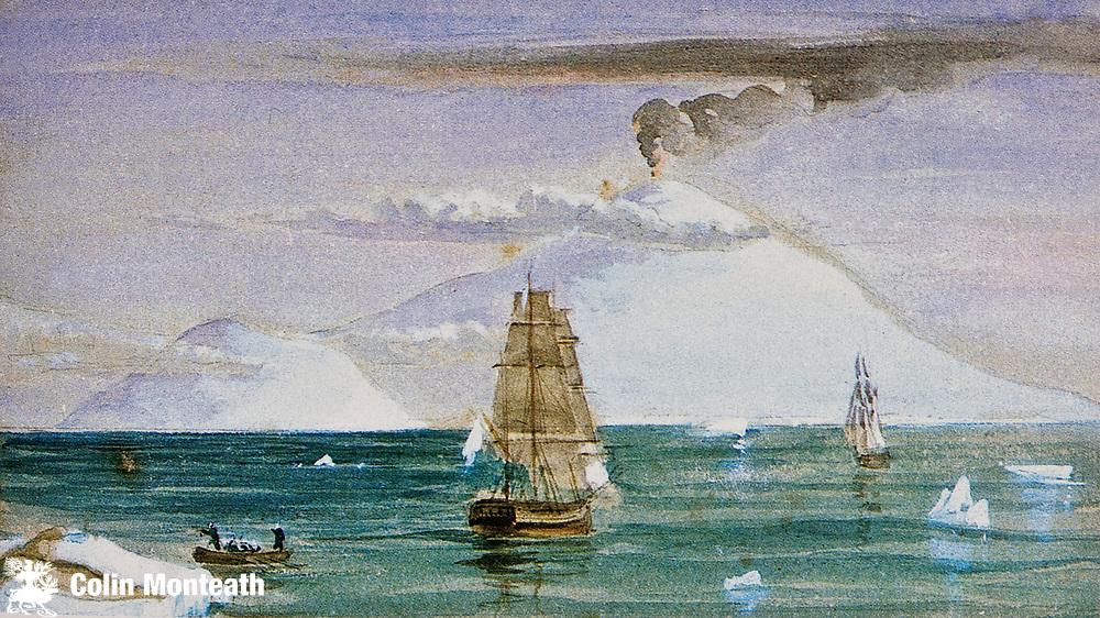Mt Erebus and Ross Island, James Clark Ross's ships Erebus & Terror, McMurdo Sound - 28 January 1841 - painting by J. E. Davis.