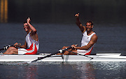 Barcelona,  SPAIN,  Bow and right, Steve REDGRAVE and Matthew PINSENT Gold Medallist GBR M2- at the 1992 Olympic Regatta. Lake Banyoles, Nr Barcelona SPAIN,  [Photo, Peter Spurrier/Intersport-images]