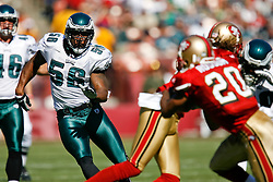 12 Oct 2008: Philadelphia Eagles linebacker Akeem Jordan #56 during the game against the San Francisco 49ers on October 12th, 2008. The Eagles won 40-26 at Candlestick Park in San Francisco, California. (Photo by Brian Garfinkel) (Photo by Brian Garfinkel)