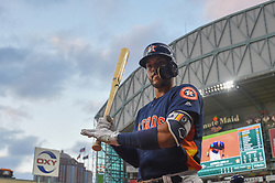 March 26, 2018 - Houston, TX, U.S. - HOUSTON, TX - MARCH 26: Houston Astros infielder Carlos Correa (1) prepares to bat during the game between the Milwaukee Brewers and Houston Astros at Minute Maid Park on March 26, 2018 in Houston, Texas. (Photo by Ken Murray/Icon Sportswire) (Credit Image: © Ken Murray/Icon SMI via ZUMA Press)