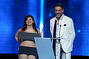 Brussels , 01/02/2020 : Les Magritte du Cinema . The Academie Andre Delvaux and the RTBF, producer and TV channel , present the 10th Ceremony of the Magritte Awards at the Square in Brussels . <br /> Pix : Farah , dressed by H&M Studio; Alain Gossuin , dressed by Gossuin<br /> Credit : Daina Le Lardic / Isopix