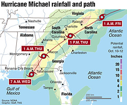 October 10, 2018 - USA - Rain prediction for Hurricane Michael over the next 3 days. (Credit Image: © Greg Good/Tns/TNS via ZUMA Wire)