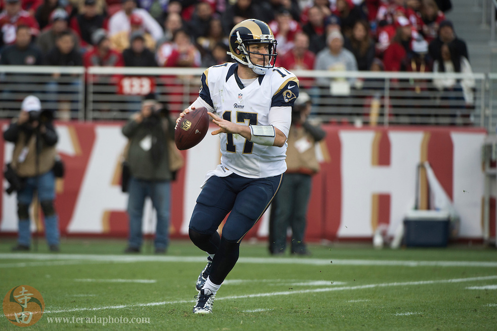 January 3, 2016; Santa Clara, CA, USA; St. Louis Rams quarterback Case Keenum (17) looks for a receiver during the third quarter against the San Francisco 49ers at Levi's Stadium. The 49ers defeated the Rams 19-16.