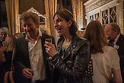 SEBASTIAN FAULKS; VERONICA FAULKS, The Walter Scott Prize for Historical Fiction 2015 - The Duke of Buccleuch hosts party to for the shortlist announcement. <br /> The winner is announced at the Borders Book Festival in Scotland in June.John Murray's Historic Rooms, 50 Albemarle Street, London, 24 March 2015.