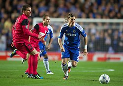 LONDON, ENGLAND - Wednesday, October 19, 2011: Chelsea's Fernando Torres in action against Racing Genk's Abel Masuero during the UEFA Champions League Group E match at Stamford Bridge. (Photo by Chris Brunskill/Propaganda)