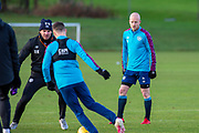 Steven Naismith (#14) of Heart of Midlothian FC (left) during the Heart of Midlothian press conference and training session at Oriam Sports Performance Centre, Edinburgh, Scotland on 23 November 2020.