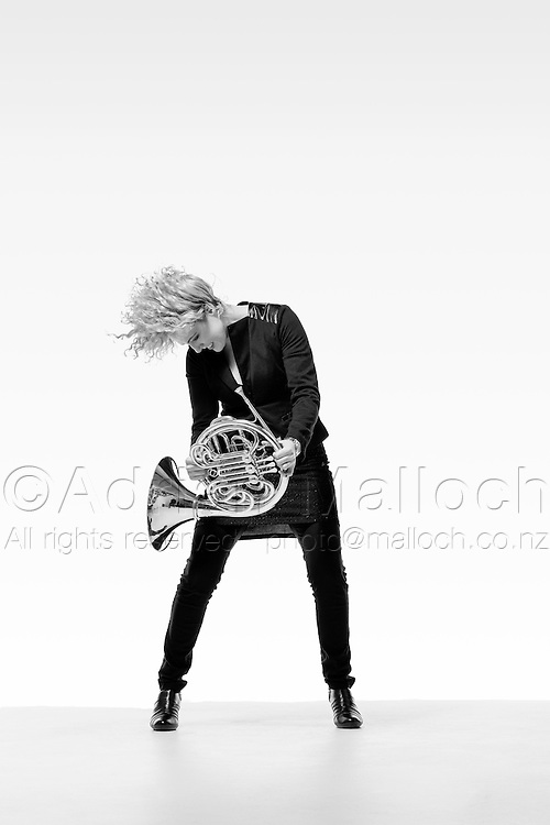 Emma Eden, french horn for the Auckland Philharmonia Orchestra.