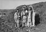 9305-B7371-2.  (l to r) Tom Frank Yallup, Henry Thompson, William Yallup at Celilo Falls, Columbia River, Oregon. September 1938.
