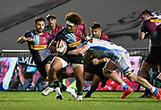 Harlequins Elia Elia makes a break during The Premiership Rugby Cup Final at The AJ Bell Stadium, Eccles, Greater Manchester, United Kingdom, Monday, September 21, 2020. (Steve Flynn/Image of Sport)