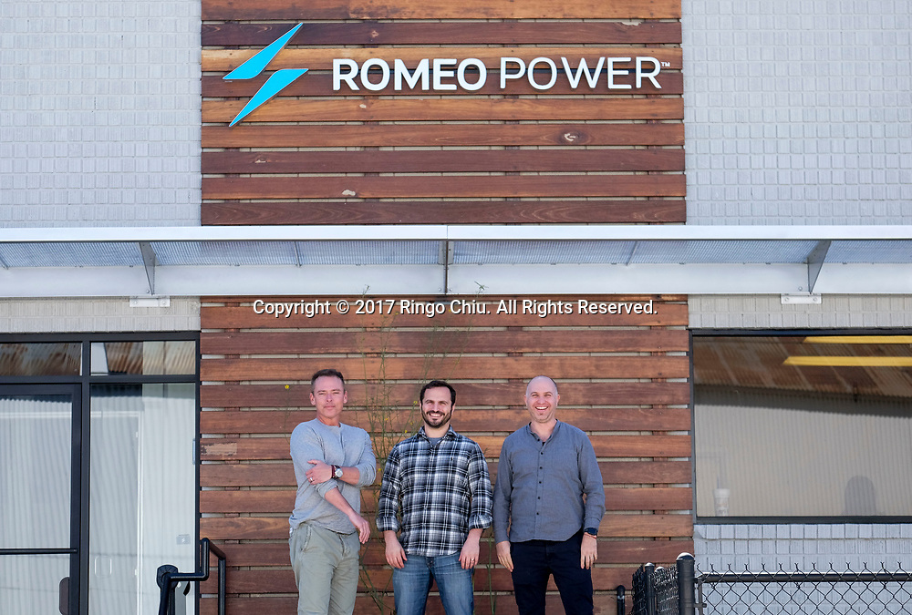 Michael Patterson, left, CEO, Mark Schwager, center, chief production officer and Porter Harris, CTO of Romeo Power, which designs and manufactures electric vehicle battery packs, has moved in to a new 113,000 sq. feet facility in Vernon with plans to hire an additional 200 manufacturing personnel in 2017 as automakers ramp up electric vehicle production.(Photo by Ringo Chiu/PHOTOFORMULA.com)<br /> <br /> Usage Notes: This content is intended for editorial use only. For other uses, additional clearances may be required.