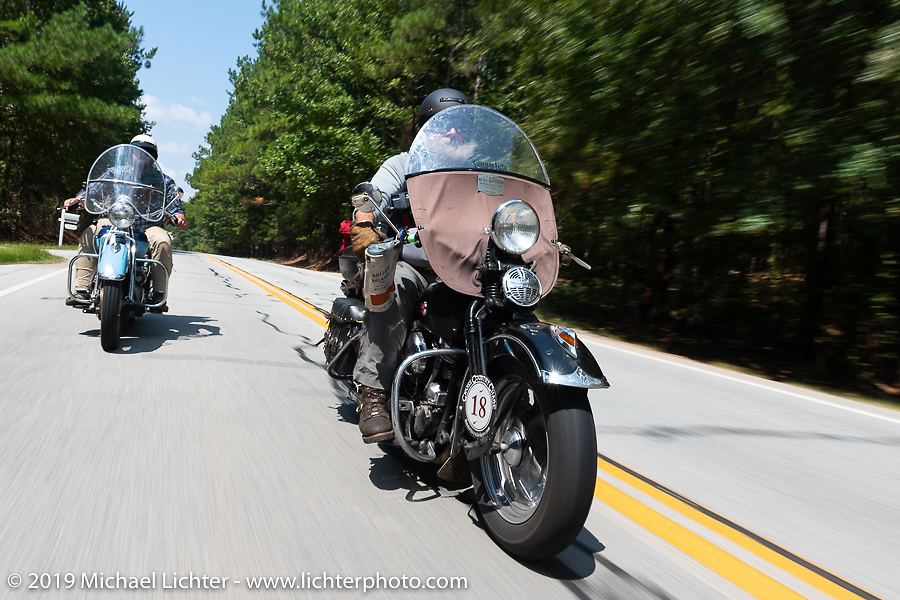 Willie Earhart riding his 1948 Harley-Davidson Panhead in the Cross Country Chase motorcycle endurance run from Sault Sainte Marie, MI to Key West, FL. (for vintage bikes from 1930-1948). Stage-6 from Chattanooga, TN to Macon, GA USA covered 258 miles. Wednesday, September 11, 2019. Photography ©2019 Michael Lichter.
