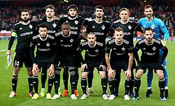 Qarabag players pose for a photograph before kick-off