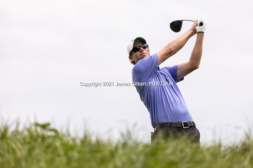 NEWBURGH, IN - SEPTEMBER 04: David Hearn of Canada plays his shot from the 17th tee during the third round of the Korn Ferry Tour Championship presented by United Leasing and Financing at Victoria National Golf Club on September 4, 2021 in Newburgh, Indiana. (Photo by James Gilbert/PGA TOUR via Getty Images)