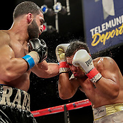 KISSIMMEE, FL - MARCH 05: Rafayel Simonyan punches Abraham Tebes during the Boxeo Telemundo All Star Boxing event at Osceola Heritage Park on March 5, 2021 in Kissimmee, Florida. (Photo by Alex Menendez/Getty Images) *** Local Caption *** Rafayel Simonyan; Abraham Tebes